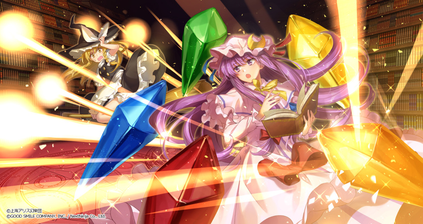 2girls apron arm_up beam black_headwear black_skirt black_vest blonde_hair blue_ribbon book bow broom broom_riding capelet commentary_request crescent crystal dress duel fighting floating_hair frilled_apron frilled_capelet frilled_skirt frills glint hagiwara_rin hair_bow hand_on_headwear hands_up hat hat_bow hat_ribbon holding holding_book indoors kirisame_marisa library light_rays long_hair looking_back magic_circle multiple_girls open_book open_mouth patchouli_knowledge philosopher's_stone pink_capelet pink_dress pink_headwear puffy_short_sleeves puffy_sleeves purple_hair red_ribbon ribbon scarlet_devil_mansion short_sleeves skirt sparkle spell_card striped sweatdrop touhou touhou_lost_word turtleneck vertical-striped_dress vertical_stripes vest violet_eyes voile waist_apron wavy_mouth white_apron white_bow witch_hat yellow_eyes