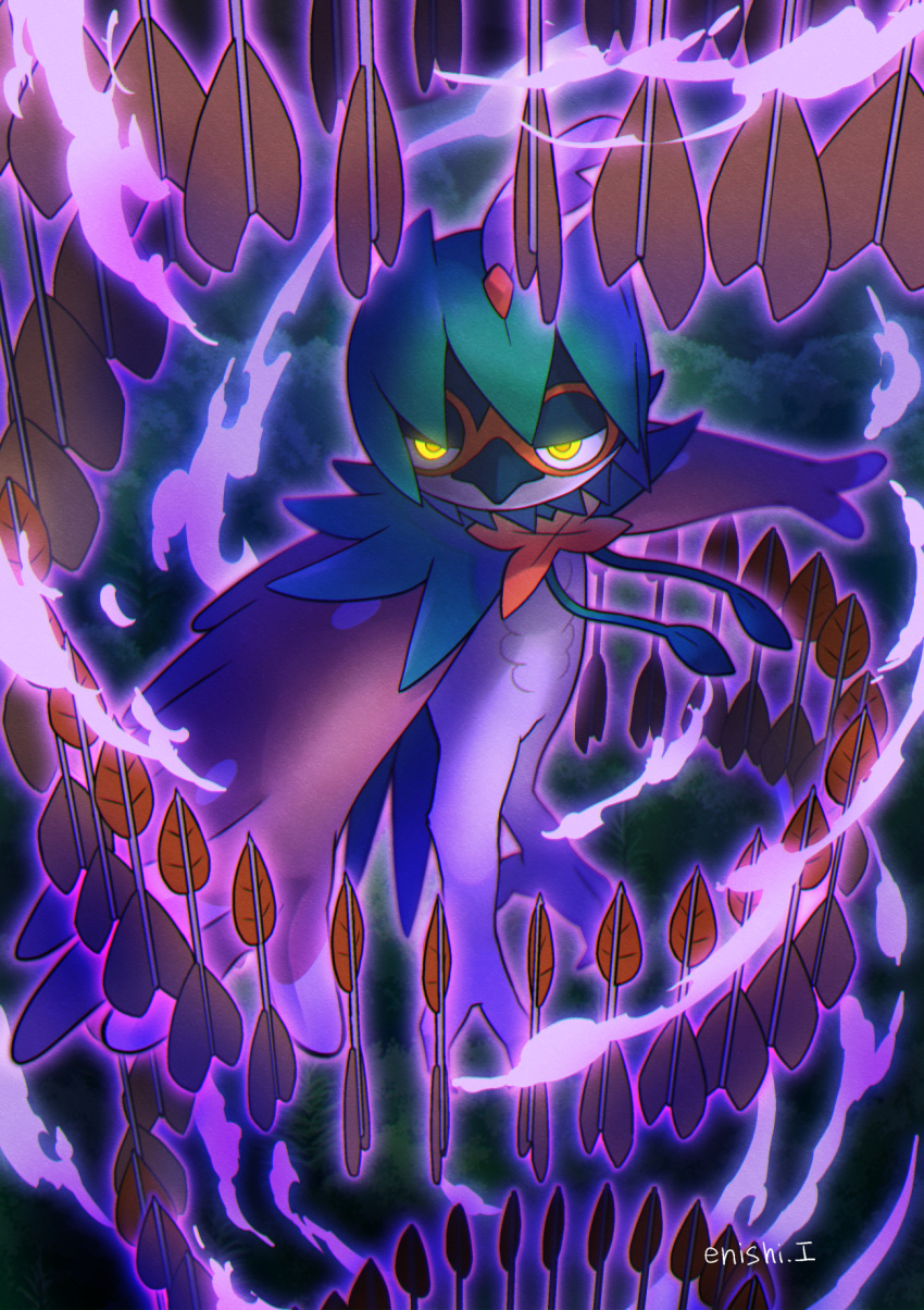 arrow_(projectile) artist_name closed_mouth commentary_request decidueye enishi_(menkura-rin10) gen_7_pokemon glowing glowing_eyes half-closed_eyes highres no_humans pokemon pokemon_(creature) solo watermark yellow_eyes
