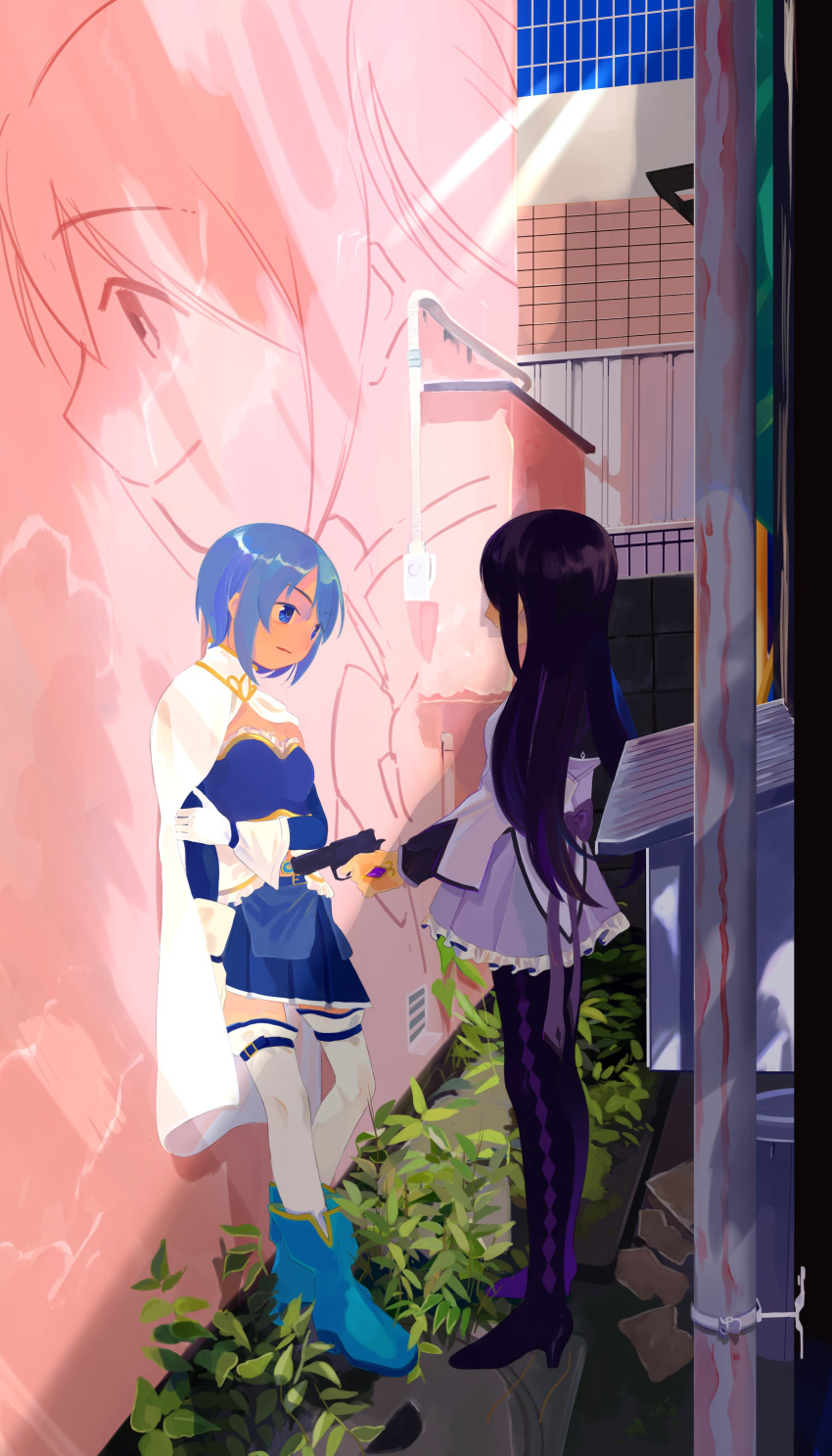 2girls absurdres against_wall aiming akemi_homura alley ankle_boots argyle argyle_legwear arm_at_side back_bow balcony bangs belt black_hair black_legwear blue_belt blue_eyes blue_footwear blue_hair blue_skirt boots bow breasts cape character_print closed_mouth commentary_request day expressionless eyebrows_visible_through_hair facing_away facing_viewer frilled_skirt frills from_side frown full_body gloves gun hair_over_face hand_on_own_arm handgun happy high_collar highres holding holding_gun holding_weapon kaname_madoka leaf leaning leaning_back legs_together long_hair looking_afar looking_at_another mahou_shoujo_madoka_magica medium_breasts miki_sayaka multiple_girls neck_ribbon outdoors outstretched_hand pantyhose parted_lips pipes pistol plant pleated_skirt pointing_weapon profile purple_ribbon purple_skirt ribbon sate_(ryu_ryu_1212m) shadow shiny shiny_hair short_hair skirt smile soul_gem standing straight_hair strapless sunlight symbolism talking thigh-highs tile_wall tiles twintails ventilation_shaft wall weapon white_cape white_gloves white_legwear
