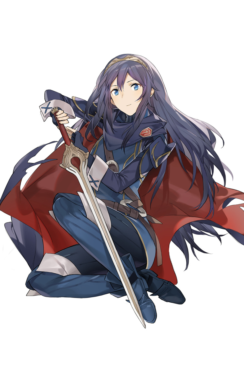 1girl armor belt belt_buckle blue_cape blue_eyes blue_gloves blue_hair breastplate buckle cape closed_mouth commentary_request falchion_(fire_emblem) fingerless_gloves fire_emblem fire_emblem_awakening floating_hair gloves hair_between_eyes highres holding holding_sword holding_weapon long_hair long_sleeves looking_at_viewer lucina lucina_(fire_emblem) multicolored multicolored_cape multicolored_clothes neee-t red_cape shoulder_armor simple_background smile solo sword tiara weapon white_background