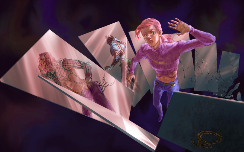 3boys absurdres argyle argyle_sweater arm_tattoo arm_up bare_pecs blue_sweater broken_glass broken_mirror brown_eyes chain cleavage_cutout clothing_cutout commentary crack diavolo different_reflection english_commentary fishnets freckles glass green_eyes guido_mista hand_in_hair hand_on_hip hand_up hat head_back highres jojo_no_kimyou_na_bouken lips lipstick long_hair long_sleeves looking_at_viewer looking_to_the_side makeup male_focus midriff mirror multiple_boys navel pants parted_lips pectorals pink_hair pink_lips purple_background purple_footwear purple_lipstick purple_pants purple_sweater red_headwear red_pants reflection ribbed_sweater shards shoes smile standing sweater tattoo toned toned_male turtleneck turtleneck_sweater vento_aureo vesta_zc vinegar_doppio wristband