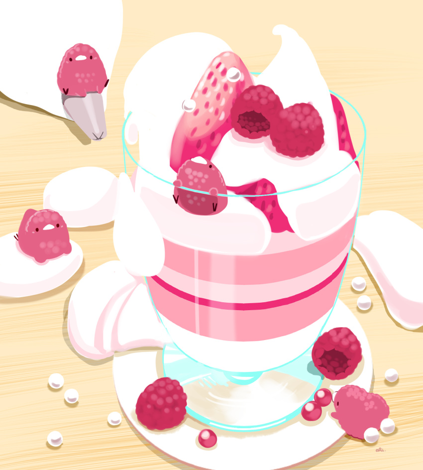 bird chai cup food fruit highres no_humans original pastry_bag raspberry strawberry whipped_cream
