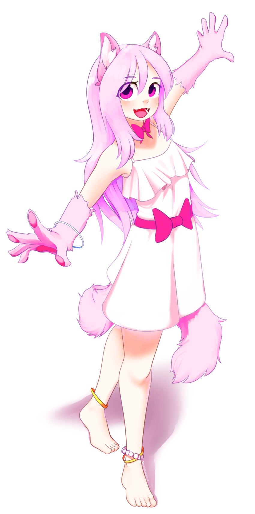 1girl :d absurdres animal_ear_fluff animal_ears anklet barefoot bead_anklet bow bowtie bracelet cat_ears cat_girl cat_tail commentary commission dress english_commentary fangs full_body highres jewelry looking_at_viewer monster_girl open_mouth original outstretched_arms paws pink_bow pink_eyes pink_hair pink_neckwear signature simple_background smile solo spread_arms sundress tail white_background white_dress yoako