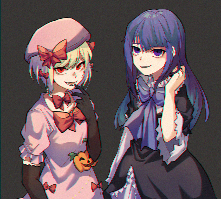 2girls bead_necklace beads black_gloves blonde_hair blue_flower blue_hair blue_rose bow dress elbow_gloves eyebrows_behind_hair film_grain finger_to_mouth flower frederica_bernkastel gloves hair_bow hand_in_hair hat jewelry kiliko-san lambdadelta long_hair long_sleeves multiple_girls necklace open_mouth pink_dress pink_headwear puffy_short_sleeves puffy_sleeves red_bow red_eyes red_ribbon ribbon rose short_hair short_sleeves smile umineko_no_naku_koro_ni violet_eyes visible_ears wide_sleeves