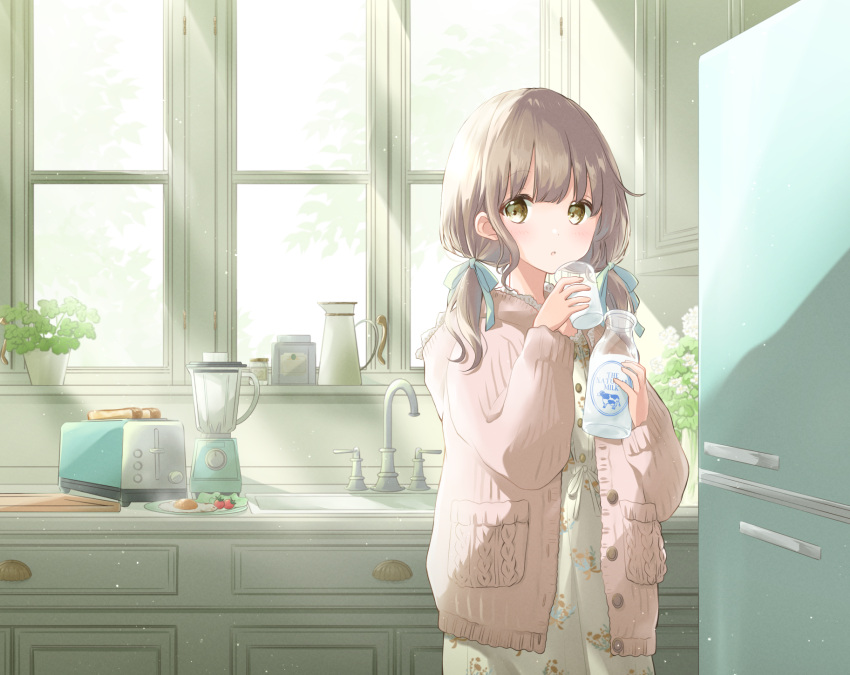 1girl :o arms_up bangs blender bottle bread brown_eyes carafe cardigan cherry_tomato commentary cowboy_shot cup day drinking_glass faucet floral_print food fried_egg hair_ribbon highres holding holding_cup hoshiibara_mato indoors kitchen light_brown_hair light_particles looking_at_viewer low_twintails milk milk_bottle morning nightgown open_cardigan open_clothes original pink_cardigan plant plate potted_plant refrigerator ribbon sink solo standing sunlight toaster tomato tray twintails