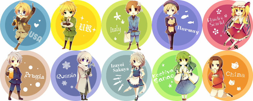 america_(hetalia) aqua_eyes belt blonde_hair blue_eyes boots brown_eyes brown_hair carrying cats china_(hetalia) circles crossover detached_sleeves drink eating fish flandre_scarlet flower glasses green_eyes green_hair group hat hearts hetalia_axis_powers italy_(hetalia) izayoi_sakuya knives kochiya_sanae long_hair maid maid_headdress miko necktie nikuman norway_(hetalia) open_mouth plaster plate prussia_(hetalia) purple_eyes rabbit ribbon russia_(hetalia) silver_hair smile snowflakes stars thigh-highs touhou twin_braids united_kingdom_(hetalia) white_flag wings wink yellow_eyes