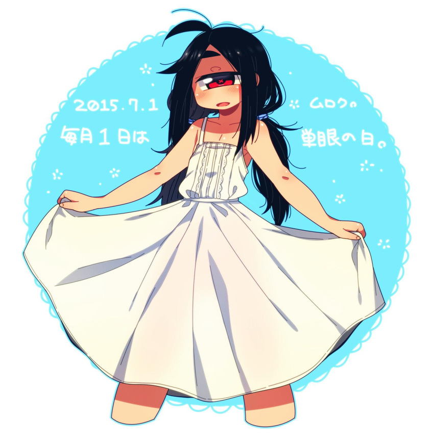 1girl :d ahoge bare_arms black_hair blue_background blue_outline blush cropped_legs cyclops dated dress highres long_hair looking_at_viewer low_twintails muku-chan_(muroku) muroku_(aimichiyo0526) one-eyed open_mouth original outline signature skirt_hold smile solo spaghetti_strap standing sundress translated twintails white_dress x_x