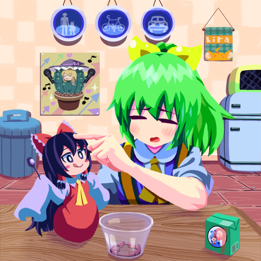 2girls absurdres animal_ear_fluff animal_ears arrow_(symbol) bangs bicycles_only_sign black_hair blonde_hair blouse blue_dress blush_stickers bow braid cactus cirno cirno_(cookie) closed_mouth commentary_request cookie_(touhou) daiyousei diyusi_(cookie) dress eyebrows_visible_through_hair food fox_ears frilled_bow frills full_body hair_between_eyes hair_bow hakurei_reimu hat hat_bow heart high-visibility_vest highres hinase_(cookie) holding_spork hotaruda_(cookie) indoors juice_box kirisame_marisa licking_lips long_hair looking_at_another medium_hair microphone minigirl miramikaru_riran monster_girl motor_vehicles_only_sign multiple_girls musical_note open_mouth pedestrians_only_sign petting pinafore_dress plant_girl poster_(object) psychic_parrot pudding puffy_short_sleeves puffy_sleeves purple_bow red_bow red_dress refrigerator rei_(cookie) road_sign short_sleeves sign single_braid sleeves_past_wrists sparkle spork table tongue tongue_out touhou trash_can upper_body very_long_hair white_blouse white_sleeves witch_hat wooden_floor yellow_bow yellow_neckwear