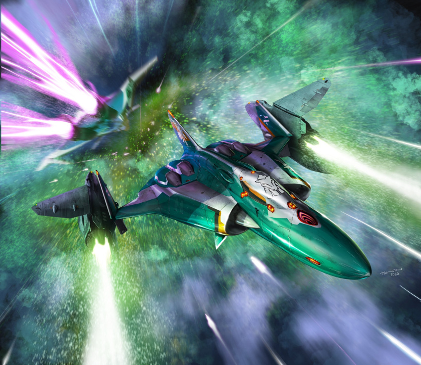 aircraft airplane fighter_jet firing flying highres jet laser macross macross_delta mecha military military_vehicle motion_blur no_humans official_art science_fiction signature space sv-262 tenjin_hidetaka thrusters vf-31 vf-31j
