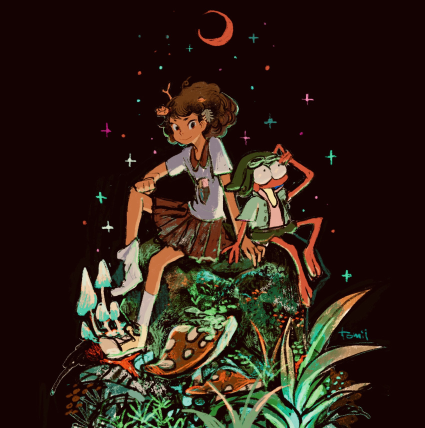 1boy 1girl absurdres amphibia anne_boonchuy brown_skirt crescent goggles goggles_on_head hat highres leaf looking_at_viewer mushroom plant pleated_skirt shirt shoes short_sleeves single_shoe sitting skirt smile socks sprig_plantar tomidoron white_footwear white_legwear white_shirt wide_shot