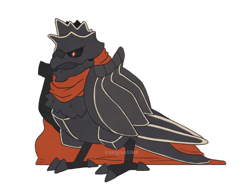 bird black_knight_(fire_emblem) cape corviknight fire_emblem fusion gen_8_pokemon highres no_humans pokemon pokemon_(creature) watermark zelgiussimp