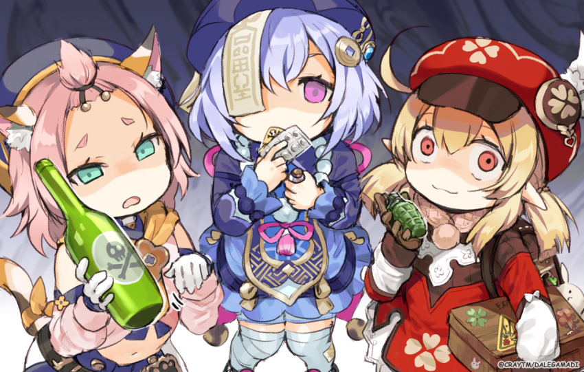 3girls ahoge animal_ear_fluff animal_ears bandaged_leg bandages bangs bangs_pinned_back blonde_hair blue_dress blue_hair blush bottle box brown_gloves cabbie_hat cat_ears cat_girl cat_tail closed_mouth covered_mouth craytm cropped_jacket detached_sleeves diona_(genshin_impact) dress explosive eyebrows_visible_through_hair feathers genshin_impact gloves green_eyes grenade hair_between_eyes hair_ornament hat hat_feather holding holding_bottle holding_box holding_grenade jacket klee_(genshin_impact) low_twintails multiple_girls navel ofuda open_mouth pill pink_hair pink_shirt pink_sleeves purple_headwear purple_jacket qing_guanmao qiqi red_dress red_eyes red_headwear shaded_face shirt skull_and_crossbones sleeveless sleeveless_dress smile tail thick_eyebrows thigh-highs twintails violet_eyes watermark white_feathers white_gloves white_legwear wide-eyed