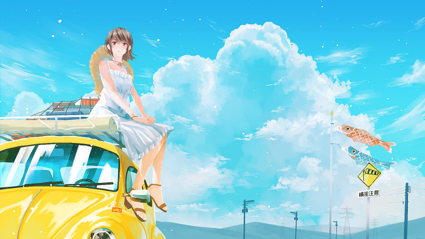 1girl blue_sky blush brown_eyes brown_footwear brown_hair car clouds cloudy_sky craft-cs dress frilled_dress frills ground_vehicle hat_on_back koinobori looking_at_viewer motor_vehicle original power_lines sandals short_hair sign sitting sky smile solo white_dress wide_shot