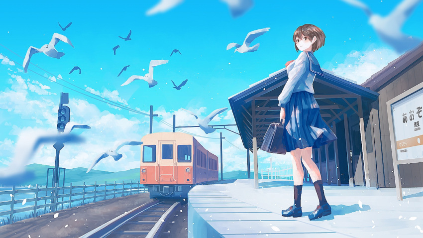 1girl black_bag black_footwear black_legwear blue_sailor_collar blue_skirt blue_sky brown_hair clouds cloudy_sky commentary craft-cs fence from_below ground_vehicle hill original pleated_skirt power_lines sailor_collar shadow shirt shoes short_hair skirt sky socks solo standing train white_bird white_shirt wide_shot