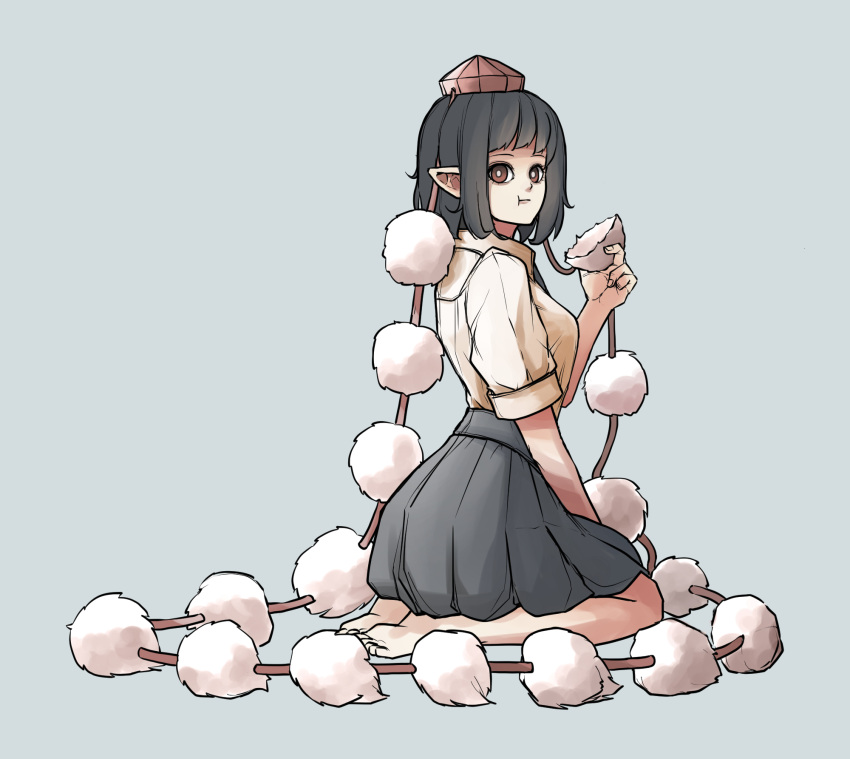 1girl :t adapted_costume bangs bare_legs barefoot black_hair black_skirt bob_cut breasts bright_pupils brown_eyes closed_mouth collared_shirt eating full_body hand_up hat highres holding looking_at_viewer looking_to_the_side no_wings peroponesosu. pleated_skirt pointy_ears pom_pom_(clothes) red_eyes red_headwear seiza shameimaru_aya shirt short_hair short_sleeves sidelocks sitting skirt small_breasts solo tokin_hat touhou white_pupils white_shirt wing_collar