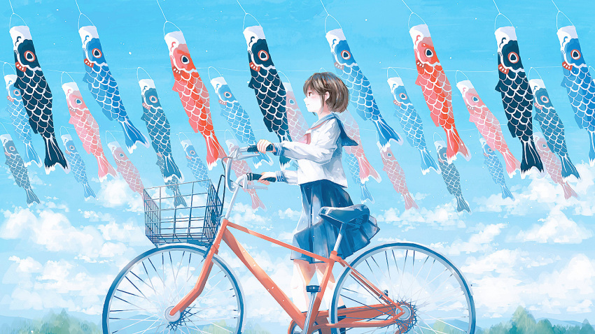1girl basket bicycle black_hair blue_skirt blue_sky blush clouds cloudy_sky craft-cs feet_out_of_frame ground_vehicle koinobori long_sleeves neckerchief original pleated_skirt profile red_neckwear shirt short_hair skirt sky smile solo white_shirt wide_shot