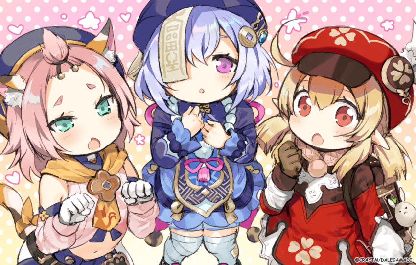 3girls :o ahoge animal_ear_fluff animal_ears bandaged_leg bandages bangs bangs_pinned_back blonde_hair blue_dress blue_hair blush brown_gloves cabbie_hat cat_ears cat_girl cat_tail commentary craytm cropped_jacket detached_sleeves diona_(genshin_impact) dress english_commentary eyebrows_visible_through_hair fang feathers genshin_impact gloves green_eyes hair_between_eyes hair_ornament hand_up hat hat_feather jacket klee_(genshin_impact) looking_at_viewer low_twintails multiple_girls navel ofuda open_mouth parted_lips pink_hair pink_shirt pink_sleeves polka_dot polka_dot_background purple_headwear purple_jacket qing_guanmao qiqi red_dress red_eyes red_headwear shirt sleeveless sleeveless_dress tail thick_eyebrows thigh-highs twintails violet_eyes watermark white_feathers white_gloves white_legwear