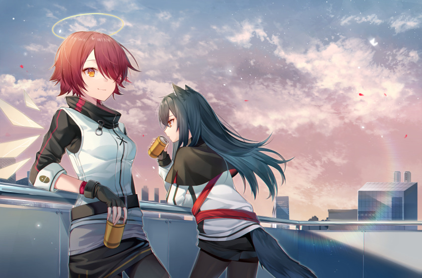 2girls against_railing animal_ear_fluff animal_ears arknights balcony black_capelet black_gloves black_hair black_legwear black_shorts black_skirt breasts capelet closed_mouth clouds cowboy_shot day detached_wings exusiai_(arknights) fingerless_gloves gloves gradient_sky hair_over_one_eye halo highres ion_(on01e) jacket lens_flare long_hair long_sleeves looking_at_viewer miniskirt multiple_girls orange_eyes outdoors pantyhose petals red_eyes redhead short_shorts shorts skirt sky small_breasts smile tail texas_(arknights) white_jacket wings wolf_ears wolf_girl wolf_tail