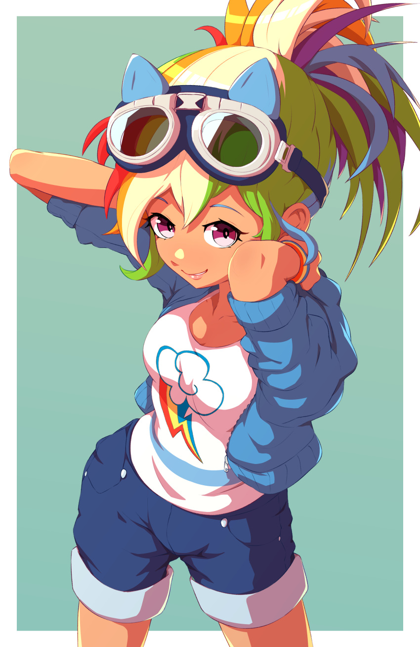 1girl absurdres arms_behind_head blue_shorts border breasts goggles goggles_on_head green_background highres looking_at_viewer multicolored_hair my_little_pony rainbow_dash rockset shorts sleeves_rolled_up smile violet_eyes white_border