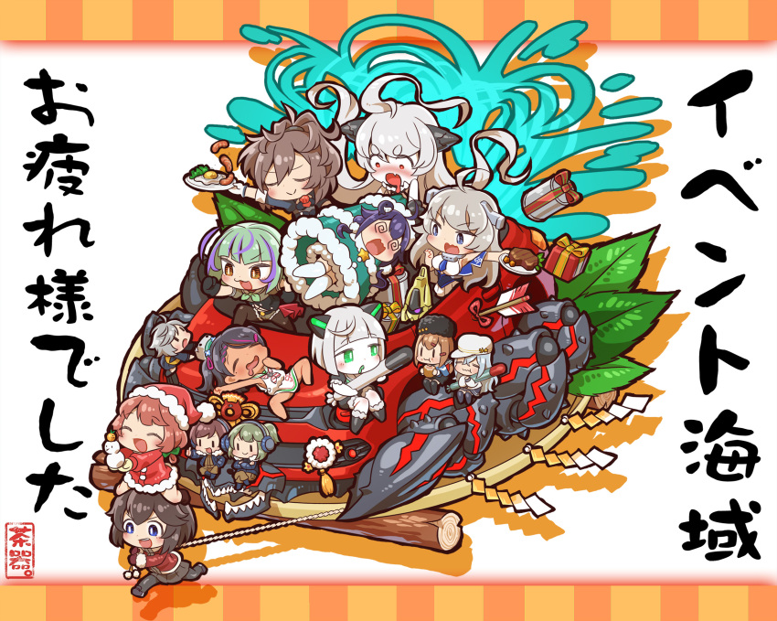>_< 6+girls @_@ abyssal_bamboo_princess abyssal_ship ahoge animal_costume black_eyes black_hair blue_eyes box braid brown_hair chaki_(teasets) chibi christmas closed_eyes commentary_request double_bun dress drooling fairy_(kantai_collection) food fur_trim gift gift_box glasses green_hair grey_hair hair_ornament hat hayasui_(kantai_collection) hibiki_(kantai_collection) highres holding holding_plate horns kaiboukan_no._4_(kantai_collection) kantai_collection leaf long_hair mole mole_under_eye multicolored_hair multiple_girls open_mouth plate ponytail pulling sailor_dress saliva santa_costume santa_hat scirocco_(kantai_collection) sheffield_(kantai_collection) short_hair silver_hair sleeping sleeveless sleeveless_dress smile steak taigei_(kantai_collection) take_(kantai_collection) tan tashkent_(kantai_collection) torpedo two_side_up verniy_(kantai_collection) wacky_races washington_(kantai_collection) white_hair
