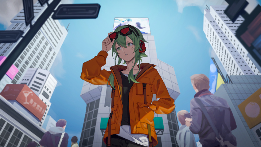 1girl adjusting_goggles backlighting billboard black_shirt blue_sky building city day from_below goggles goggles_on_head green_eyes green_hair gumi hand_in_pocket headphones highres jacket orange_jacket parted_lips project_sekai red_goggles road shirt short_hair_with_long_locks sidelocks sky skyscraper street upper_body vocaloid white_shirt wounds404