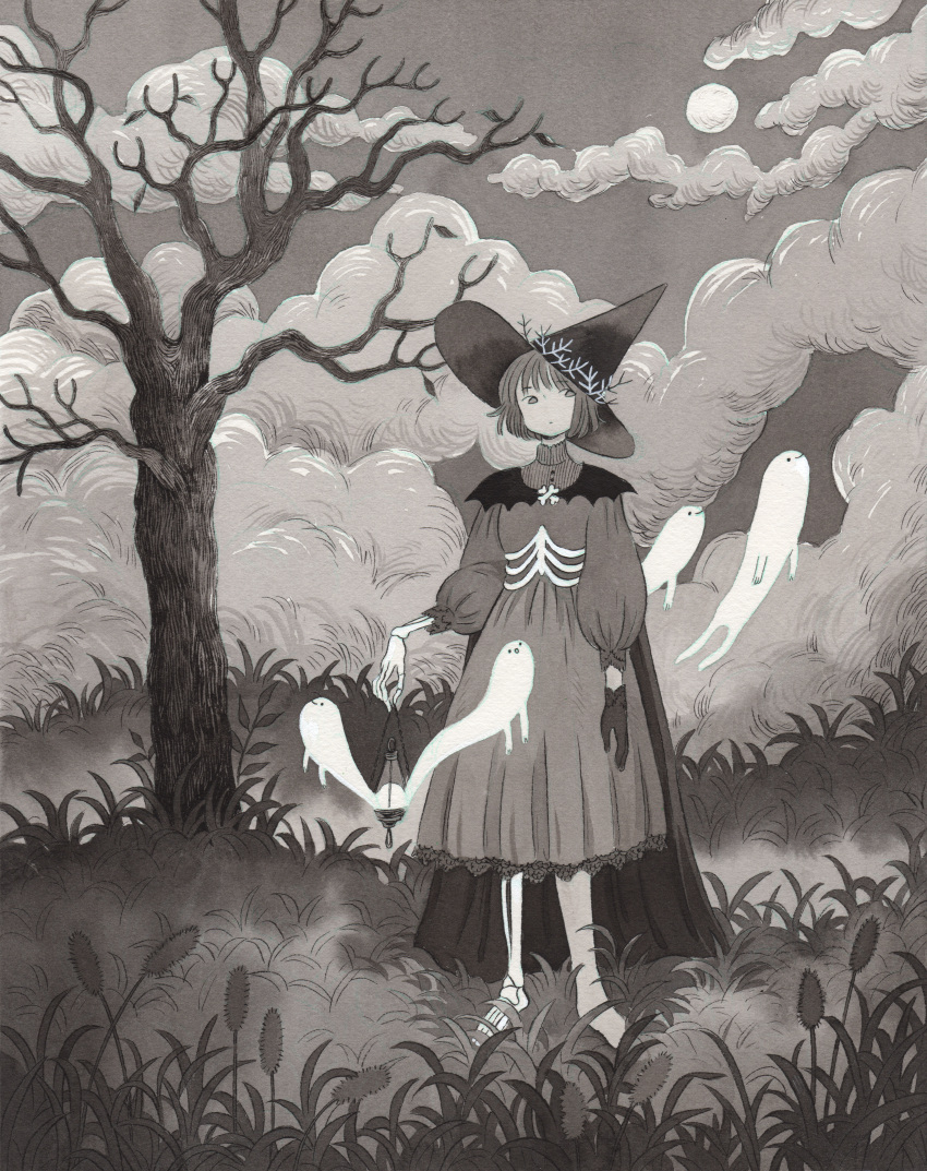 1girl absurdres black_gloves black_headwear clouds cloudy_sky dress ghost gloves grass grey_dress grey_sky greyscale hat heikala highres leaf long_sleeves monochrome original outdoors plant puffy_long_sleeves puffy_sleeves short_hair skeletal_arm skeletal_leg sky solo standing traditional_media tree wide_shot witch_hat