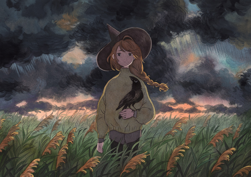 1girl bird black_eyes black_headwear braid braided_ponytail brown_sweater clouds cloudy_sky crow expressionless feet_out_of_frame grass hat heikala highres long_hair long_sleeves looking_at_viewer original sky solo sweater traditional_media witch_hat