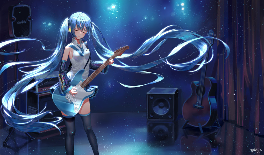 1girl absurdly_long_hair absurdres acoustic_guitar amplifier_(instrument) aqua_nails artist_name bare_shoulders black_legwear black_skirt black_sleeves blue_hair blue_neckwear closed_eyes commentary curtains detached_sleeves electric_guitar english_commentary guitar hatsune_miku headphones headset highres holding holding_instrument holding_plectrum instrument light_particles light_smile lips long_hair miniskirt music nail_polish necktie oohhya playing_instrument pleated_skirt shirt skirt sleeveless sleeveless_shirt solo speaker stage standing thigh-highs twintails very_long_hair vocaloid white_shirt wide_shot zettai_ryouiki