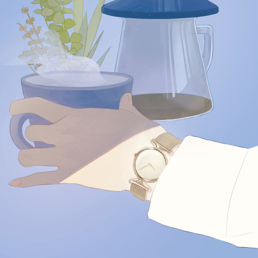blue_background cup hands_up highres holding holding_cup leaf long_sleeves mu_mashu nordgreen original plant simple_background steam watch watch