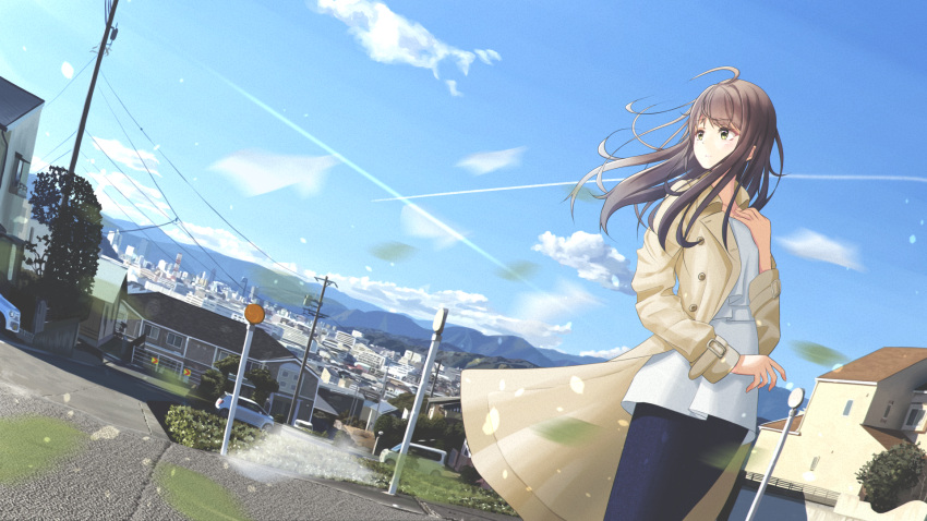 1girl ahoge arm_up blouse blue_blouse blue_skirt blue_sky brown_eyes brown_hair car city clouds coat condensation_trail day dutch_angle expressionless feet_out_of_frame ground_vehicle hair_blowing hand_on_own_chest highres house long_hair looking_to_the_side motor_vehicle mountainous_horizon open_clothes open_coat original outdoors parted_lips petals road scenery sena_(illust_sena) skirt sky solo standing utility_pole very_long_hair wind wind_lift yellow_coat