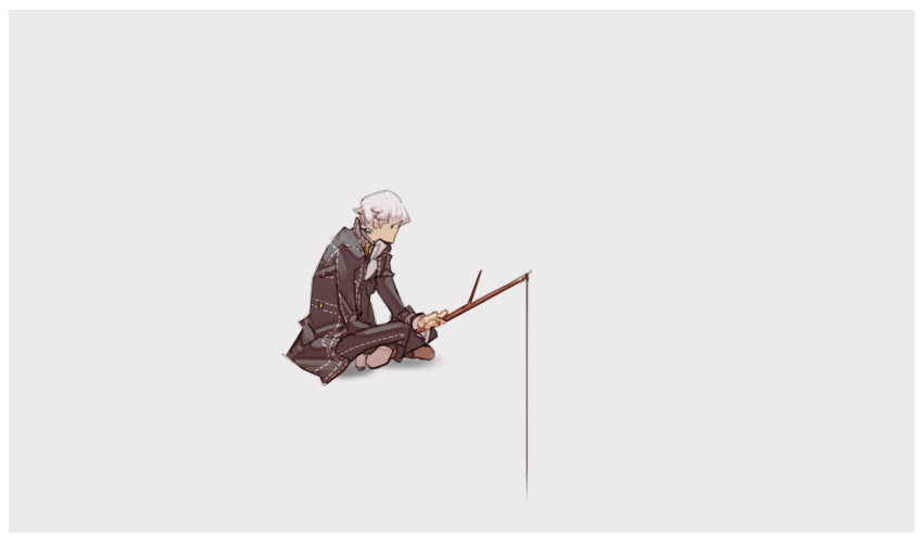 1boy black_jacket brown_footwear fishing_line grey_background grey_hair highres holding holding_stick jacket long_sleeves narukami_yuu nin_nakajima no_mouth no_nose persona persona_4 shoes short_hair simple_background solo stick wide_shot