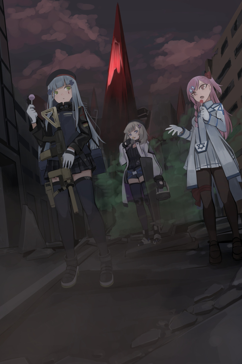 3girls aa-12_(girls_frontline) assault_rifle beret boots candy chcn city cityscape commentary_request dark_sky eating food food_in_mouth girls_frontline gloves gun h&k_hk416 hat hexagram highres hk416_(girls_frontline) lollipop monolith_(object) multiple_girls negev_(girls_frontline) pantyhose rifle shoes star_of_david suppressor thigh-highs weapon