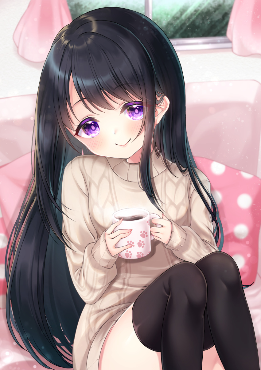 1girl bangs black_hair black_legwear blurry blurry_background blush brown_sweater closed_mouth commentary_request cup curtains depth_of_field dress eyebrows_visible_through_hair feet_out_of_frame highres holding holding_cup indoors knees_up long_hair long_sleeves mirai_(happy-floral) mug original pillow polka_dot sitting sleeves_past_wrists smile solo steam sweater sweater_dress thigh-highs very_long_hair violet_eyes window