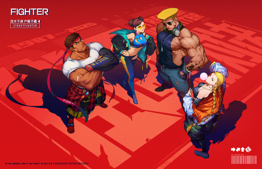 2boys 2girls adapted_costume ahoge arm_tattoo aviator_sunglasses baggy_clothes baggy_pants bandaid bandaid_on_arm bare_shoulders black_gloves black_hair black_legwear black_sleeves blonde_hair braid breasts bubble_blowing cammy_white casio casual chewing_gum chun-li cleavage_cutout clothes_around_waist clothing_cutout commentary_request crossed_arms dark_skin dark_skinned_male denim detached_leggings detached_sleeves dog_tags double_bun earrings fashion fingernails flattop glasses gloves green_nails guile halter_top halterneck hand_on_hip headband headphones headphones_around_neck highleg highleg_panties highres hoop_earrings huge_ahoge impossible_clothes jacket jeans jewelry large_breasts leggings long_braid long_hair looking_at_viewer looking_back looking_up medium_breasts midriff multicolored multicolored_clothes multicolored_jacket multiple_boys multiple_girls muscular muscular_male nail_polish navel off-shoulder_jacket official_art opaque_glasses panties pants pectorals plaid plaid_shirt red_background red_footwear red_headband rimless_eyewear ring round_eyewear ryu_(street_fighter) shirt shirt_around_waist shoes short_hair single_detached_sleeve sleeveless sleeves_rolled_up sneakers street_fighter street_fighter:_duel stud_earrings sunglasses t-shirt tan tattoo thick_eyebrows tight tight_pants torn_clothes torn_jeans torn_pants twin_braids underwear v watch watch white_footwear wireless xin_wang yellow-tinted_eyewear