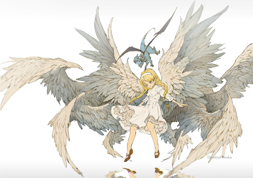 1girl artist_name bangs blonde_hair braid commentary_request demizu_posuka dress feathered_wings flying full_body gradient gradient_background grey_background hairband imp long_hair mary_janes multiple_wings no_socks original outstretched_arms reflection shoes solo twin_braids twintails white_dress white_hairband wings yellow_eyes