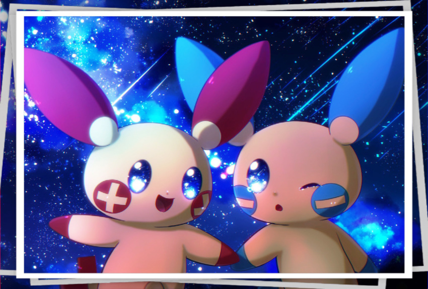 blue_eyes blue_sky blue_theme blush_stickers chromatic_aberration commentary_request eye_contact gen_3_pokemon happy highres holding_hands iogi_(iogi_k) jpeg_artifacts looking_at_another minun night no_humans one_eye_closed open_mouth outdoors photo_(object) plusle pokemon pokemon_(creature) shooting_star sky smile star_(sky) starry_sky tears
