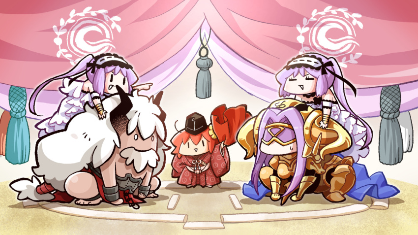 1boy 4girls armor armored_boots asterios_(fate/grand_order) belt blindfold boots bull chain chaldea_logo choker cloak curtains dress euryale eyebrows fate/grand_order fate_(series) frilled_choker frilled_dress frilled_hairband frilled_sleeves frills fujimaru_ritsuka_(female) gauntlets goddess hair_between_eyes hairband hat headdress horns japanese_clothes lolita_hairband long_hair multiple_girls ono-yuzi open_mouth orange_hair pauldrons pointing purple_cloak purple_hair ribbon-trimmed_hairband rider shirtless shoulder_armor siblings sisters smile squatting stheno sumo sweatdrop toes twins twintails very_long_hair white_dress white_hair