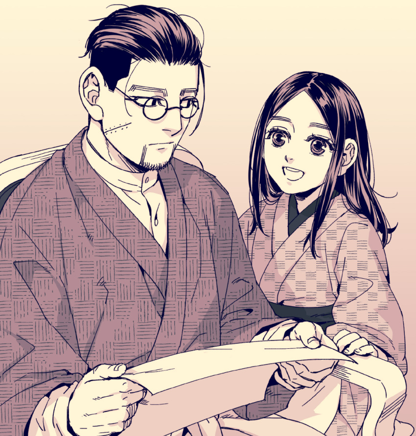 1boy 1girl :d alternate_costume asirpa black_eyes black_hair buttons chair closed_mouth collar collared_shirt commentary_request eye_contact facial_hair glasses golden_kamuy hair_slicked_back hair_strand highres holding holding_paper long_sleeves looking_at_another monochrome ogata_hyakunosuke open_mouth paper round_eyewear scar scar_on_cheek scar_on_face shirt short_hair simple_background sitting smile standing stubble tetsuko_gk traditional_clothes undercut upper_body white_shirt