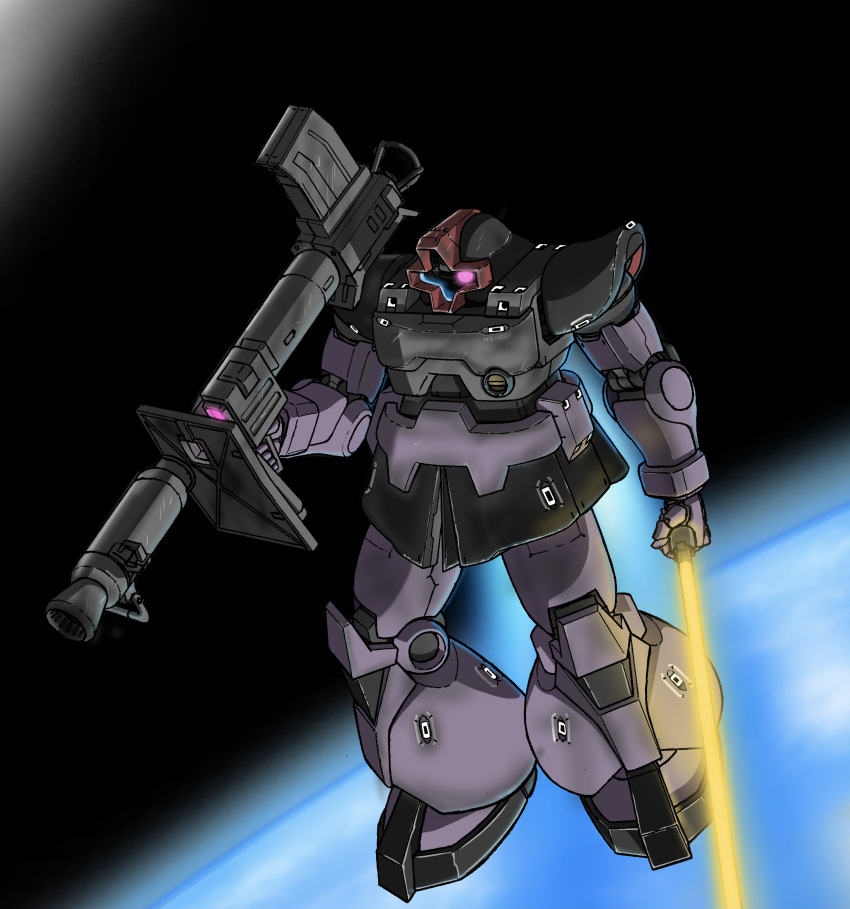 absurdres aron_e bazooka_(gundam) beam_saber dom floating glowing glowing_eye gun gundam highres holding holding_gun holding_sword holding_weapon looking_to_the_side mecha mobile_suit_gundam no_humans one-eyed science_fiction solo space sword violet_eyes weapon zeon
