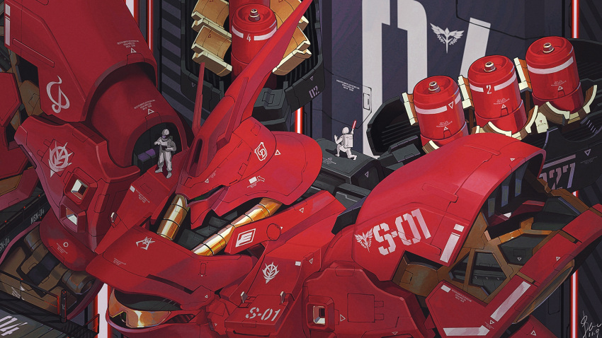 2boys char's_counterattack dated from_above funnels gundam hangar highres looking_down machinery mecha multiple_boys sazabi science_fiction signature spacesuit stellanfleuret v-fin zeon