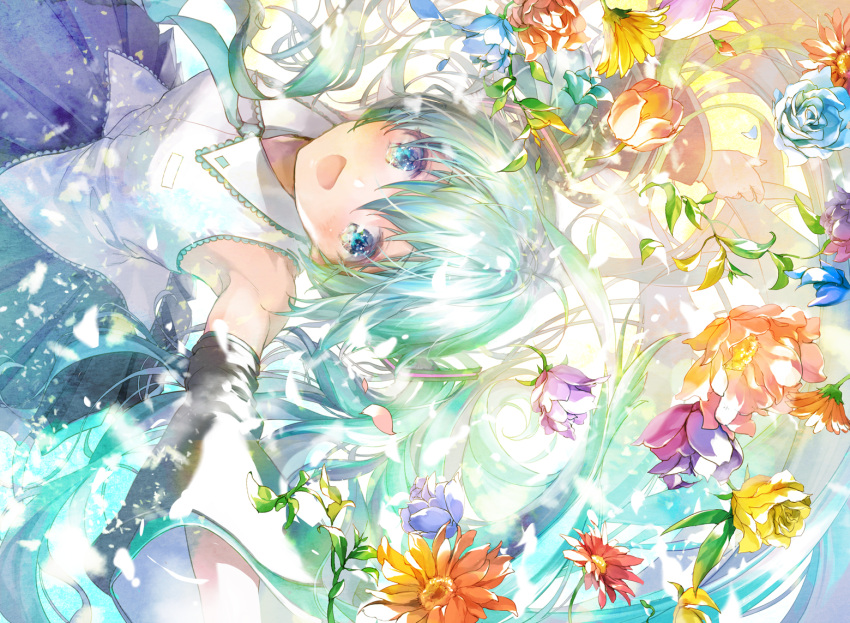 1girl 888myrrh888 :d aqua_eyes aqua_flower aqua_neckwear aqua_rose armpits bare_shoulders black_skirt blue_flower blue_rose breasts collared_shirt colorful detached_sleeves eyebrows_visible_through_hair floating_hair flower green_flower green_hair hair_between_eyes happy hatsune_miku leaf light light_blush long_hair looking_at_viewer looking_up messy_hair necktie open_mouth orange_flower outstretched_hand petals pink_flower plant pleated_skirt purple_flower purple_rose red_flower rose shirt skirt sleeveless sleeveless_shirt small_breasts smile solo tareme upper_body upside-down very_long_hair vocaloid white_shirt yellow_flower yellow_rose