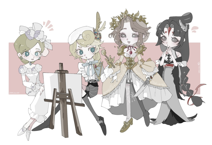 1boy 3girls :o black_eyes black_footwear black_hair black_shorts blonde_hair blue_bow blue_eyes bow braid brown_hair canvas_(object) capelet corset crown dress earrings easel edgar_valden facing_viewer feathers feet_together flower frilled_dress frilled_sleeves frills gem gloves gold_dress gold_gloves gold_shoes grey_dress hair_bun hair_flower hair_ornament hands_on_lap hands_together hat head_wreath highres identity_v jewelry knife layered_dress layered_sleeves legs_apart long_hair looking_at_another looking_to_the_side mary_(identity_v) michiko_(identity_v) multiple_girls necklace paintbrush ponytail short_hair shorts sitting sleeveless smile standing thigh-highs veil vera_nair very_long_hair white_background white_dress white_footwear white_gloves xxxxxxxx