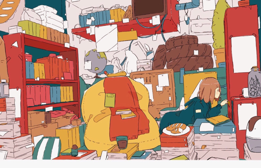 1girl alarm_clock all_fours bird blue_hoodie book_stack bookshelf bottle bread brown_hair bulletin_board clock daisukerichard food from_side glass globe hood hoodie indoors long_sleeves messy_room mouth_hold original paper_stack penguin plate short_hair solo