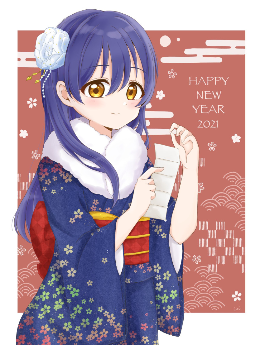 1girl bangs blue_hair blue_kimono blush commentary_request cowboy_shot floral_print flower fur-trimmed_kimono fur_trim furisode hair_between_eyes hair_flower hair_ornament happy_new_year highres holding japanese_clothes kimono long_hair long_sleeves looking_at_viewer love_live! love_live!_school_idol_festival love_live!_school_idol_project new_year sonoda_umi swept_bangs white_flower wide_sleeves yellow_eyes