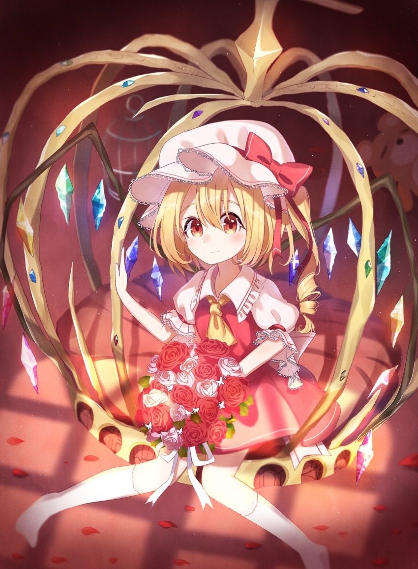 1girl ametama_(runarunaruta5656) ascot bangs blonde_hair bouquet bow closed_mouth collar collared_shirt commentary crown crystal flandre_scarlet flower frilled_collar frills hat hat_bow highres holding holding_bouquet kneehighs looking_at_viewer medium_hair medium_skirt mob_cap one_side_up oversized_object petals pink_flower pink_rose puffy_short_sleeves puffy_sleeves red_bow red_eyes red_flower red_rose red_shirt red_skirt ribbon rose shirt short_sleeves single_horizontal_stripe sitting skirt smile solo stuffed_animal stuffed_toy teddy_bear touhou white_flower white_headwear white_legwear white_ribbon white_rose wings yellow_neckwear