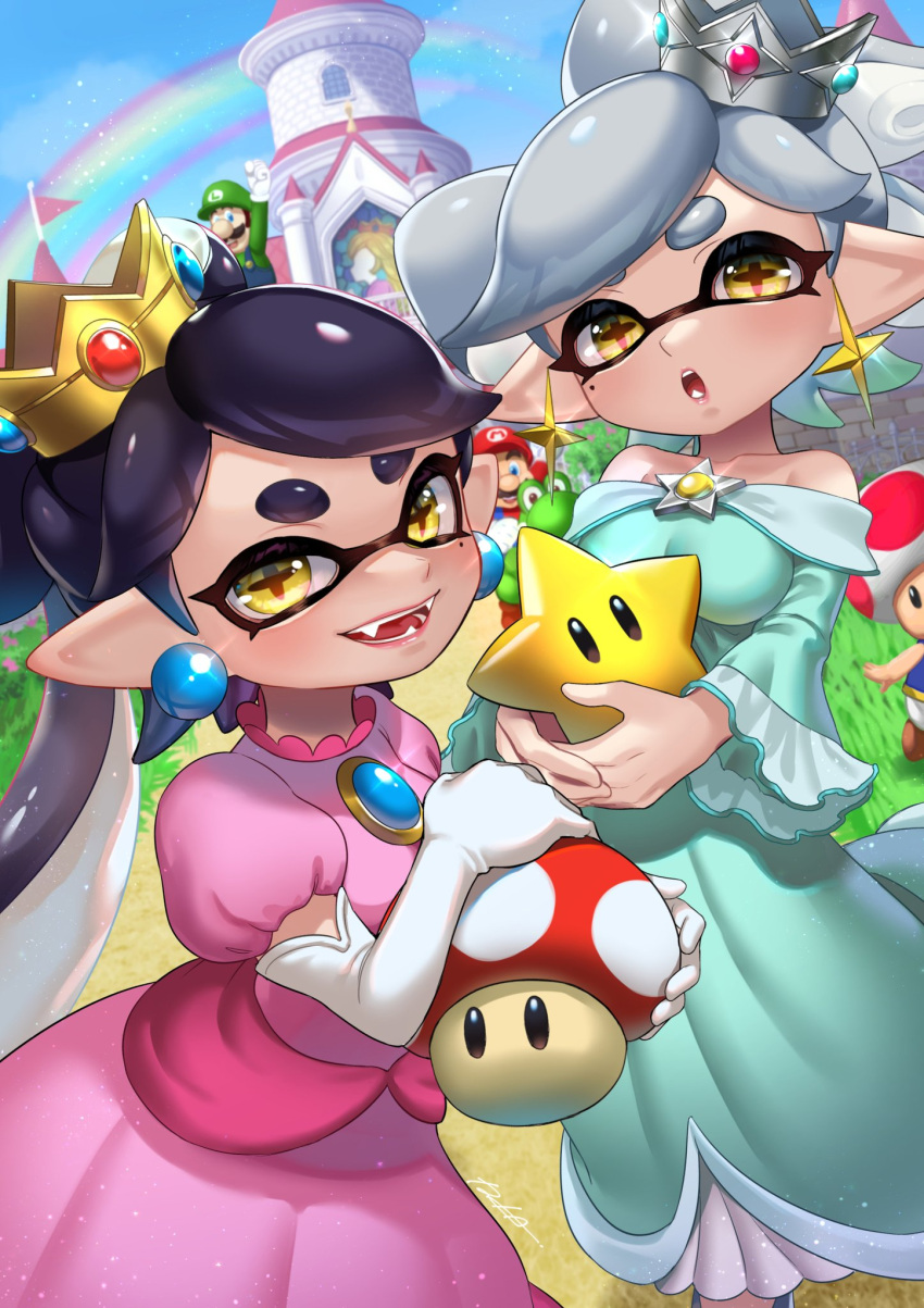 +_+ 2girls 3boys alternate_costume arm_up artist_name bangs bare_shoulders black_eyes blue_eyes blue_sky blue_vest blurry blurry_background blush breasts brooch brown_hair callie_(splatoon) castle clenched_hand collarbone commentary_request cosplay crossover crown day domino_mask dress dutch_angle earrings elbow_gloves facial_hair fangs gem glint gloves grass green_headwear green_shirt grey_hair grey_headwear hand_up hands_together happy highres holding iria_(yumeirokingyo) jewelry jumping light_particles long_hair long_sleeves looking_at_viewer luigi marie_(splatoon) mario mario_(series) mask medium_breasts mole mole_under_eye multiple_boys multiple_girls mushroom mustache off-shoulder_dress off_shoulder open_mouth outdoors overalls path pink_dress pointy_ears princess_peach princess_peach_(cosplay) puffy_short_sleeves puffy_sleeves purple_hair rainbow red_headwear red_shirt road rosalina rosalina_(cosplay) shiny shiny_hair shirt short_hair short_sleeves siblings signature sisters sky small_breasts smile splatoon_(series) stained_glass standing star_(symbol) swept_bangs teeth tentacle_hair tentacles thick_eyebrows tied_hair tilted_headwear toad vest white_gloves yellow_eyes yellow_headwear yoshi