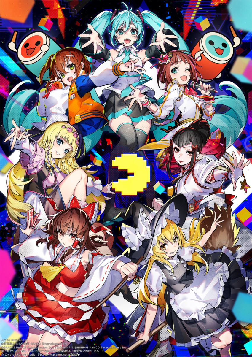 6+girls :d ;d apron ascot bangs bare_shoulders black_footwear black_hair black_headwear black_legwear black_skirt black_vest blonde_hair blue_eyes blue_hair blue_neckwear blunt_bangs bow bowtie braid breasts broom brown_eyes brown_hair character_request closed_mouth copyright_request detached_sleeves double-breasted fingerless_gloves fingernails flower gloves gohei green_eyes hair_bow hair_flower hair_ornament hair_tubes hakurei_reimu halftone hat hat_bow hatsune_miku headphones headphones_around_neck headset highres holding holding_microphone idolmaster jacket japanese_clothes kirisame_marisa large_breasts long_hair long_sleeves looking_at_viewer mary_janes medium_breasts medium_hair microphone midriff mika_pikazo miko miniskirt multiple_girls navel necktie one_eye_closed one_side_up open_clothes open_jacket open_mouth outstretched_arms pin pink_flower pink_rose pleated_skirt ponytail puffy_short_sleeves puffy_sleeves red_bow red_neckwear rose shirt shoes short_sleeves side_braid skirt smile socks talisman thigh-highs touhou twintails vest vocaloid waist_apron watermark white_apron white_bow white_gloves white_legwear white_shirt witch_hat wristband yellow_eyes yellow_neckwear