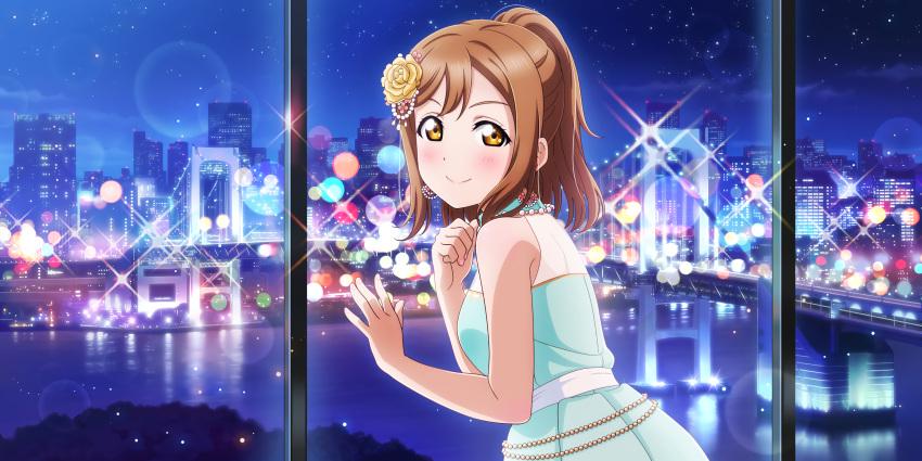 blush brown_eyes brown_hair dress kunikida_hanamaru long_hair love_live!_school_idol_festival_all_stars