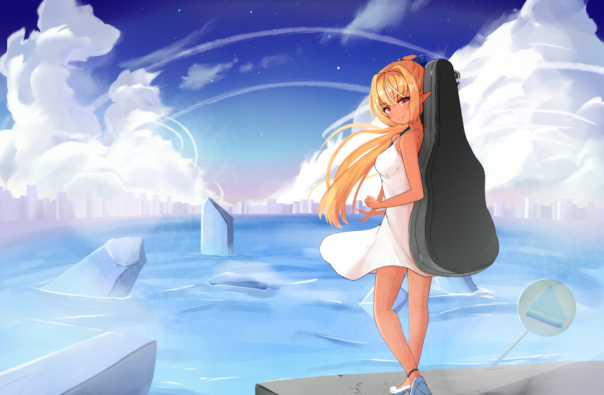 1girl absurdres ayataka_(milk9tomo) bangs bare_arms bare_legs bare_shoulders blonde_hair cityscape closed_mouth dark_elf dark_skin dark_skinned_female dress elf from_side full_body guitar_case hair_intakes hair_ribbon high_heels high_ponytail highres hololive instrument_case light_blush long_hair looking_at_viewer multicolored_hair pointy_ears ribbon ruins shiranui_flare short_dress sidelocks simple_background skyline sleeveless sleeveless_dress smile solo spaghetti_strap streaked_hair sundress virtual_youtuber white_dress white_footwear