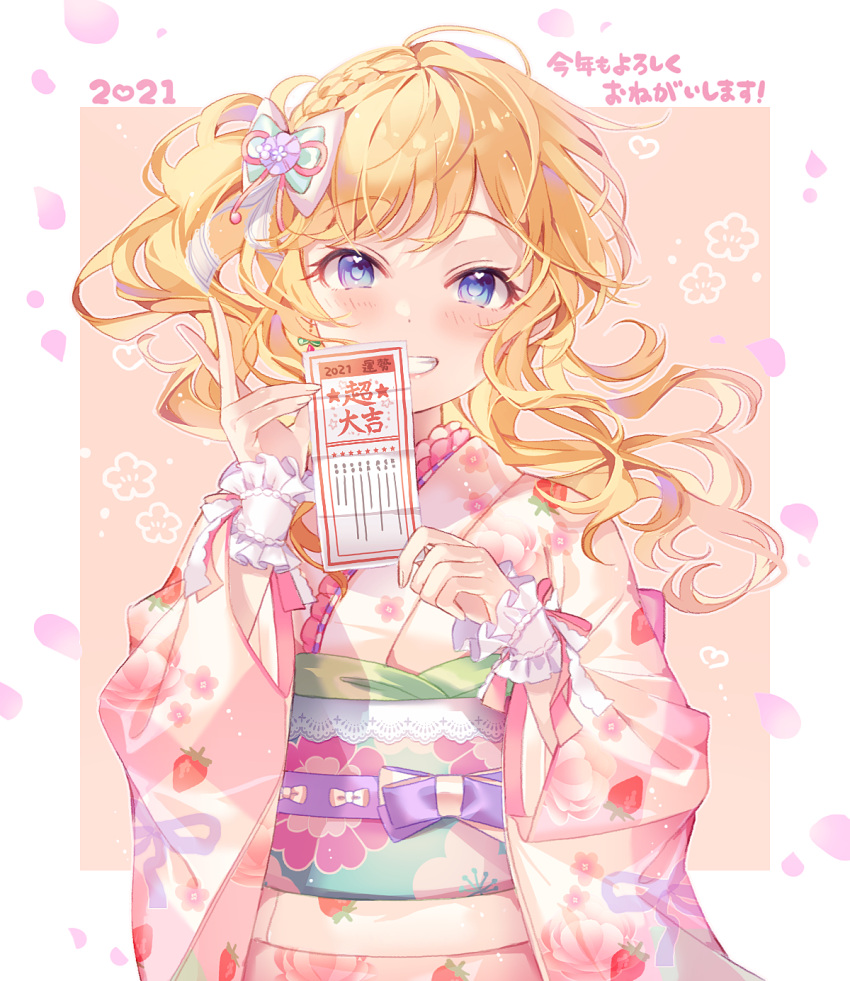 1girl 2021 alternate_costume bangs blonde_hair blue_eyes blush border bow braid commentary_request eyebrows_visible_through_hair floating_hair floral_print flower frills hair_bow hair_flower hair_ornament hands_up highres holding holding_paper idolmaster idolmaster_cinderella_girls idolmaster_cinderella_girls_starlight_stage japanese_clothes kimono kina_(446964) long_hair long_sleeves looking_at_viewer obi ootsuki_yui paper petals pink_kimono print_kimono sash smile solo striped ticket translation_request upper_body wavy_hair white_border wide_sleeves wrist_cuffs